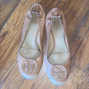 Tory Burch reva flats shoes brown leather 9